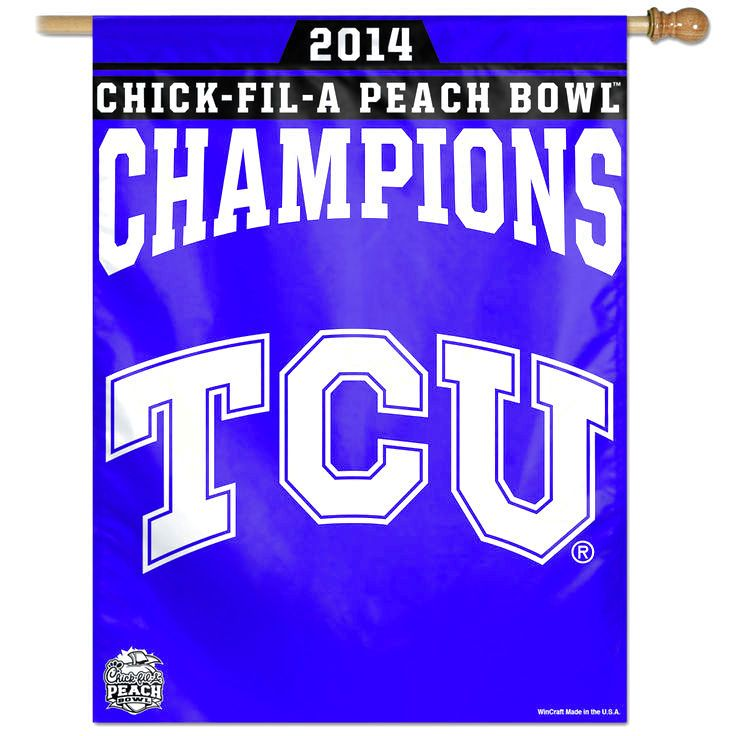 """TCU Horned Frogs WinCraft 2014 Peach Bowl Champions 27"""" x 37"""" Vertical Banner - $19.99"""