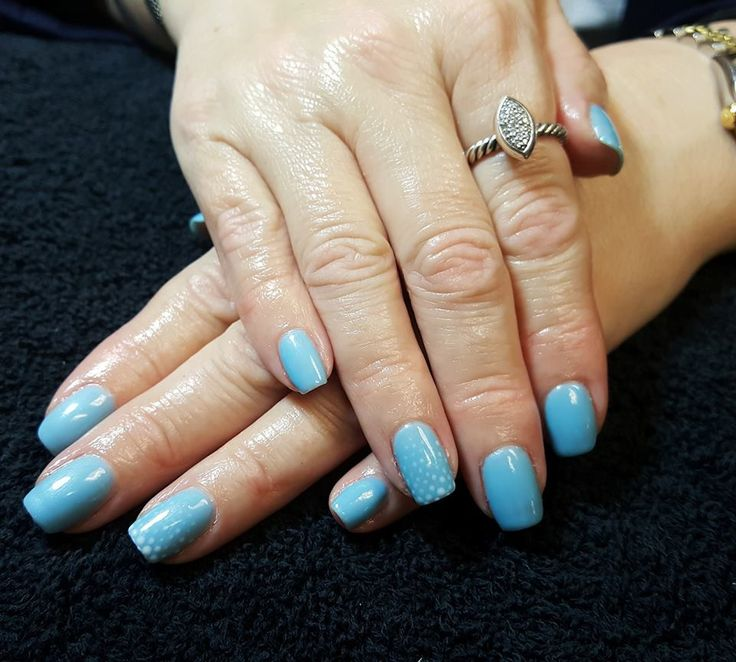 CND Shellac Nail Art by Gossamer Nail Studio. Snow, Simple, Winter, Blue, Accent, Fade