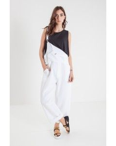 Salopette in misto lino bianco RUE BISQUIT - Officine Concept #overall #salopette #ruebisquit #rue8isquit