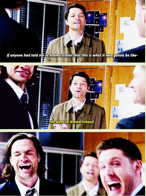"[GIFSET] S9 Gag Reel :D ""He went to drama school!"" Misha Collins - Supernatural gag reel. Supernatural Funny"
