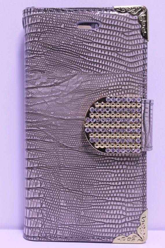 Gray Alligator Skin Print wallet Phone Case | Color Option Available