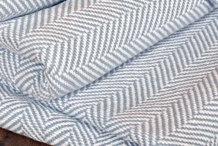 Luxury Herringbone Blanket - Misty Blue