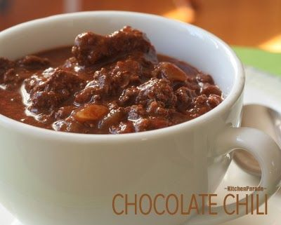 Chocolate Chili   A touch of chocolate plus warm savory spices, my oldest (still best!) chili recipe!   Low Carb. Weight Watchers PointsPlus 3   Kitchen Parade