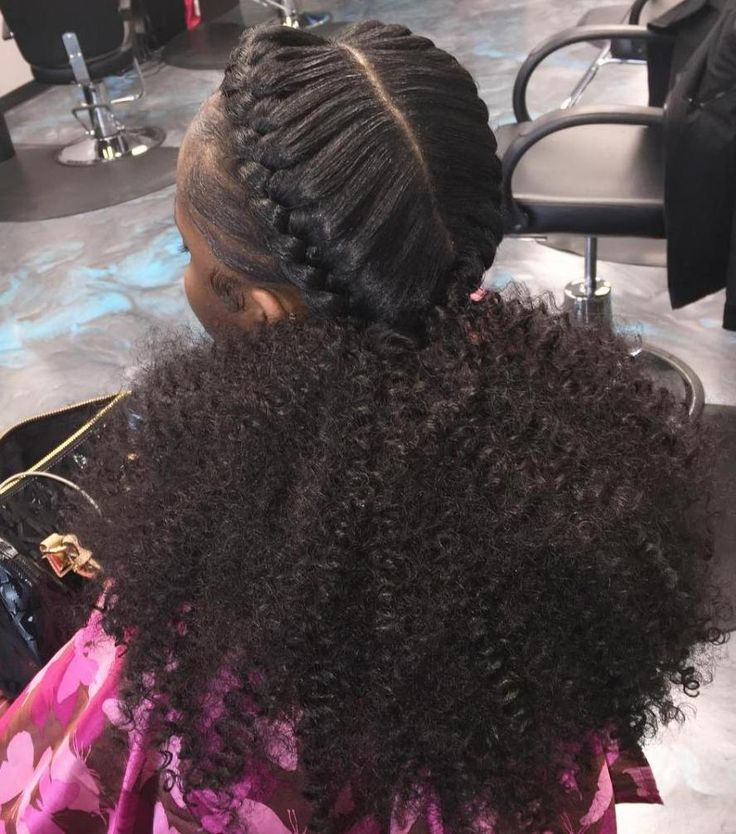 Black Braided Hairstyle With Curly Pony