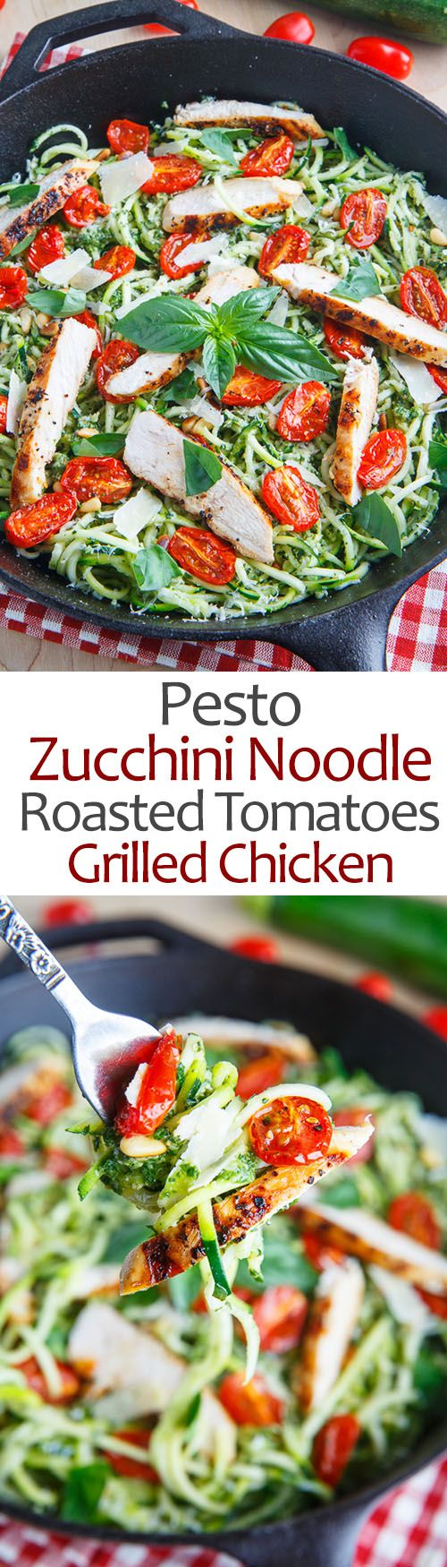Pesto Zucchini Noodles with Roasted Tomatoes and Grilled Chicken. I love the…