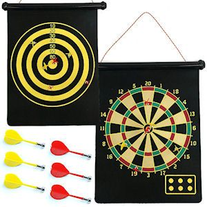 MAGNETIC ROLL UP DART BOARD & BULLSEYE GAMES. Includes 6 magnetic darts and a felt hanging board. Each in tube. Perfect for party games, indoor play, rainy day activities and Father's Day gifts.  Size 14 X 19.5 Inch board, 3 Inch darts