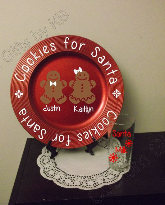 Santa Plate with Cup Set by CustomGiftsbyKB on Etsy, $17.00