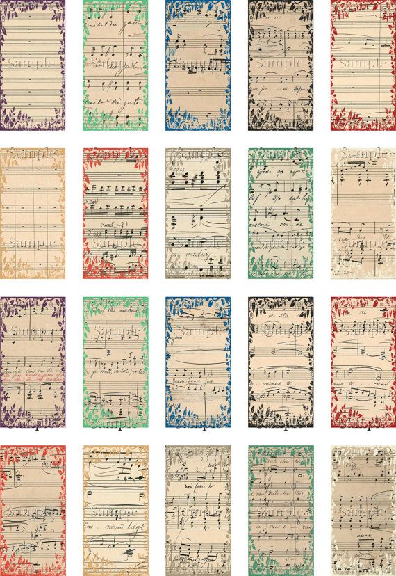 Vintage Music Scores Digital Domino 1x2 by TheGrafficalMuse