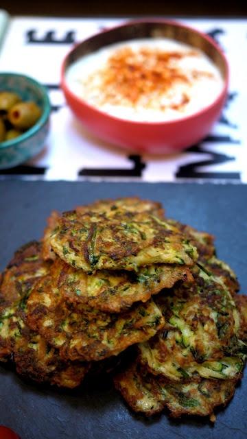 Courgette Fritters aka Zucchini & Homemade Tzatziki Dip.