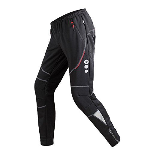 Santic Men's Cycling Trousers Bicycle Fleece Thermal Winter Windproof Pants James Black