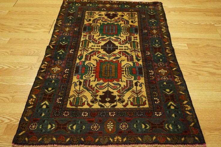Handmade Wool Beleuch Geometric Prayer Rug Multi-color Ivory Blue Brown Red 3x5 #Geometric