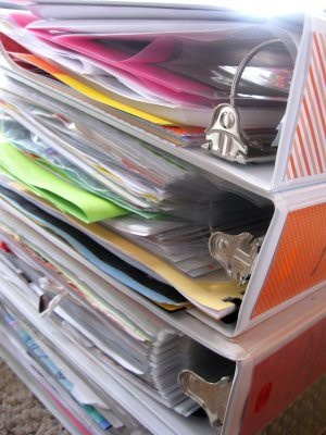 Memory binders. As an alternative to scrapbooking EVERY scrap of special paper the kids receive, do these memory binders. Just as special and much less effort.