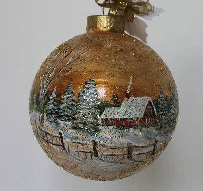 Painted Christmas Ornament Christmas Ornament Winter Scene