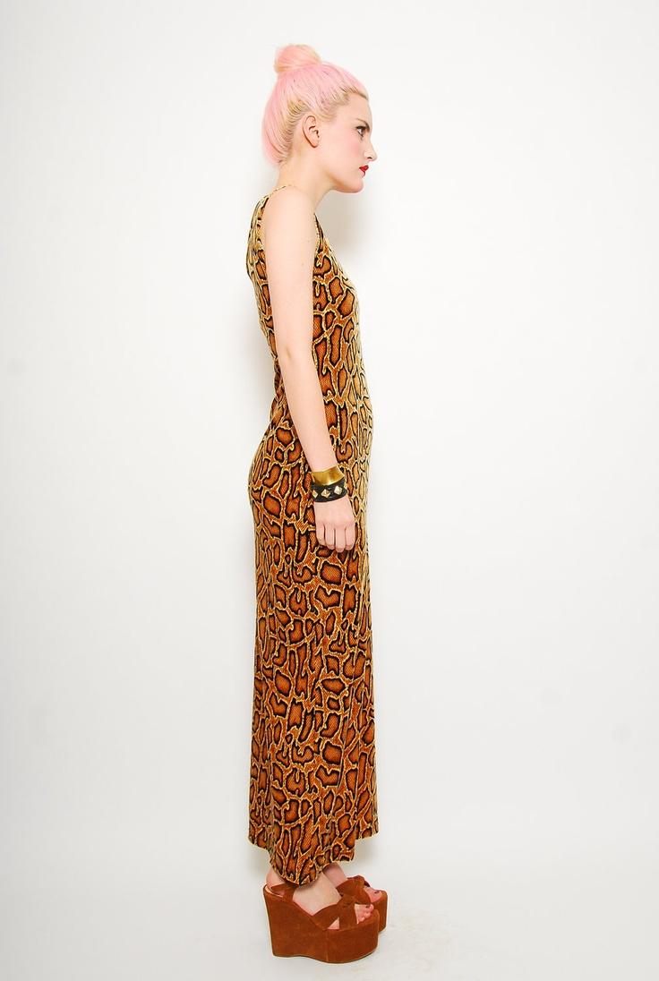 Black and orange animal print maxi dress