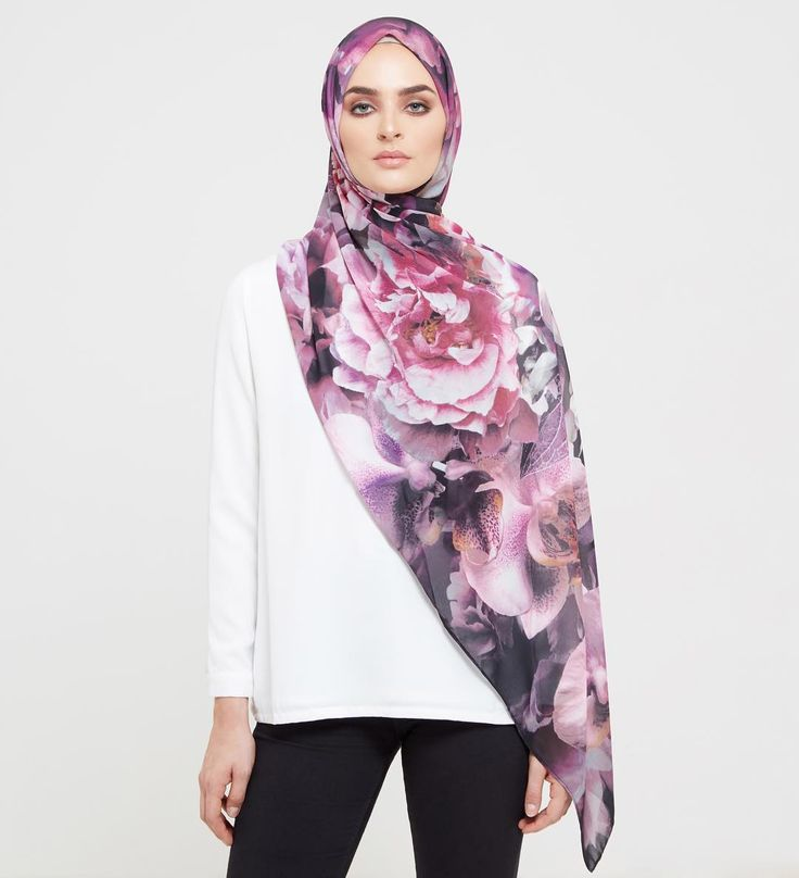 INAYAH | New In | Black Floral Mix Hijab  www.inayah.co