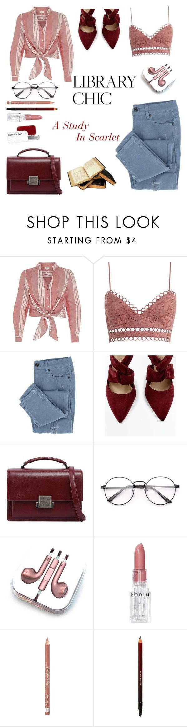 """Library Chic: A Study In Scarlet"" by yosifova ❤ liked on Polyvore featuring River Island, Zimmermann, Yves Saint Laurent, PhunkeeTree, Rodin, Rimmel, Fig+Yarrow, casual, contest and librarychic"