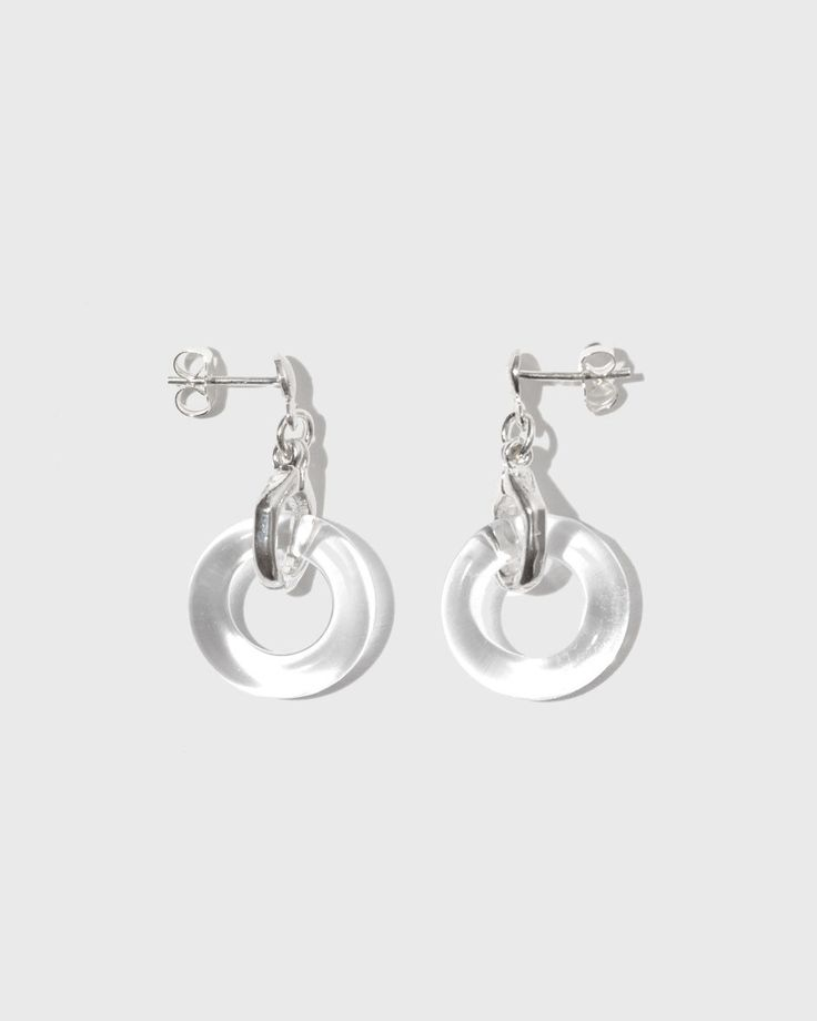 Earrings in Sterling Silver with Rock Crystal