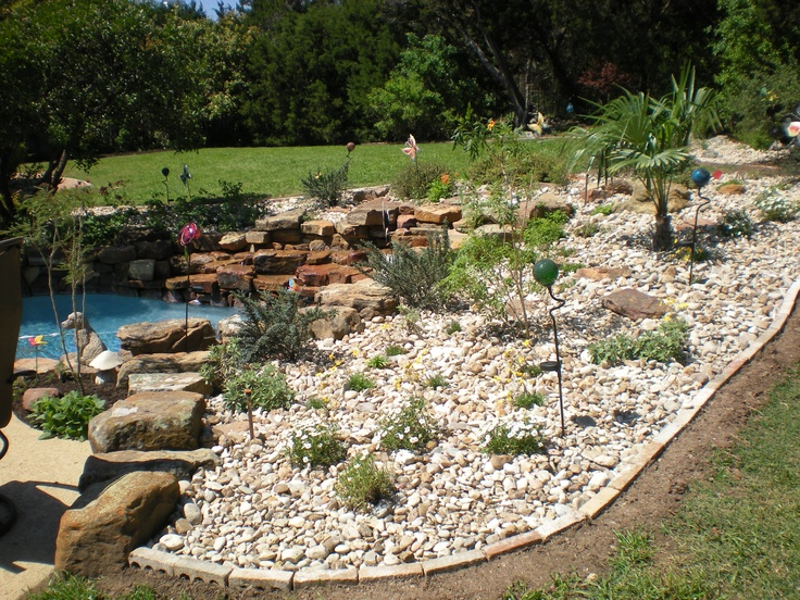 Poolside xeriscaping by central texas landscaper bill rose for Garden scaping
