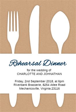 Fancy Flatware - Free Rehearsal Dinner Party Invitation Template | Greetings Island