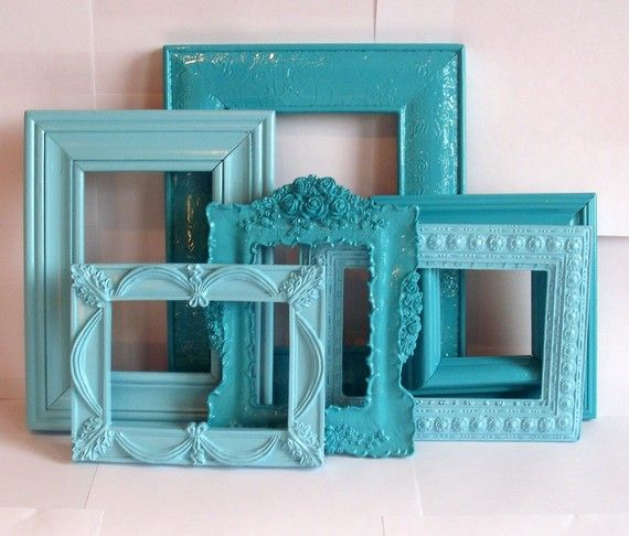 Seaside Frame Collection Aqua Turquoise Blue 6 Pieces Turquoise Bedroom Decorguest