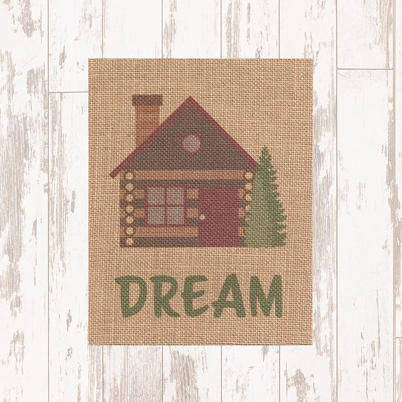 Dream  Camping Theme/Log Cabin Burlap Fabric Print