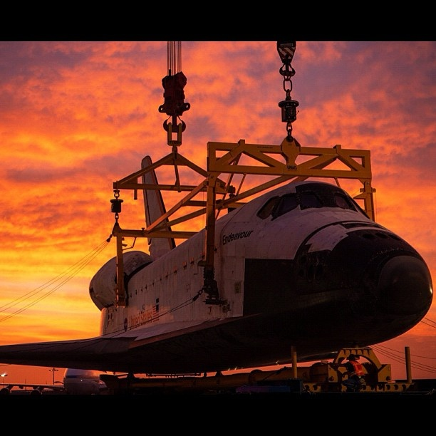 Beautiful shot of Endeavour being mated on the Over Land Transporter. #lax #spottheshuttle #nasa - @camillasdo- #webstagram: Shuttle Endeavour, Spaces Shuttle, Lax Spottheshuttl, Land Transportation, Endeavour Paths, Shuttle Sunsets, California Science, Nasa Spaces, Photo