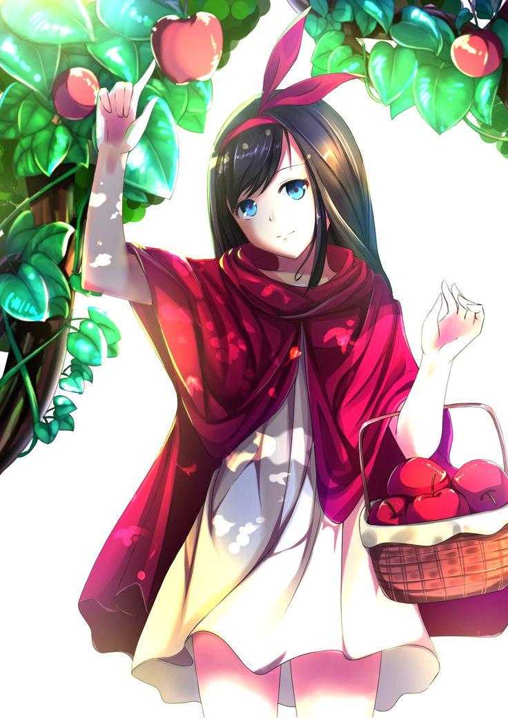 Anime Girl With Black Hair, Blue Eyes, White Dress, Red