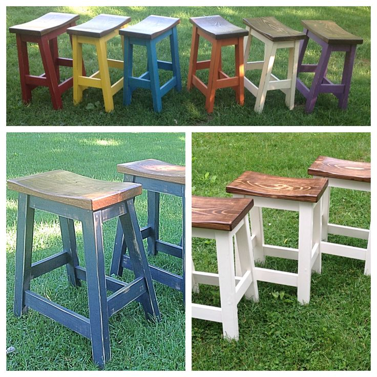 Custom built, painted and stained farmhouse style bar stools.