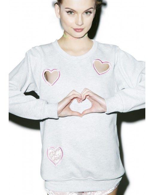 Local Heroes Transparent Heart Sweatshirt | Dolls Kill