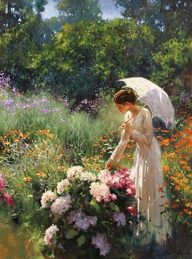 Woman admiring Peonies--Untitled, by Richard S. Johnson