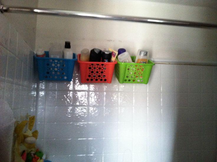 Shower Caddy Using Dollar Store Baskets Zip Ties And A Shower Rod Shower Rod Dollar Stores