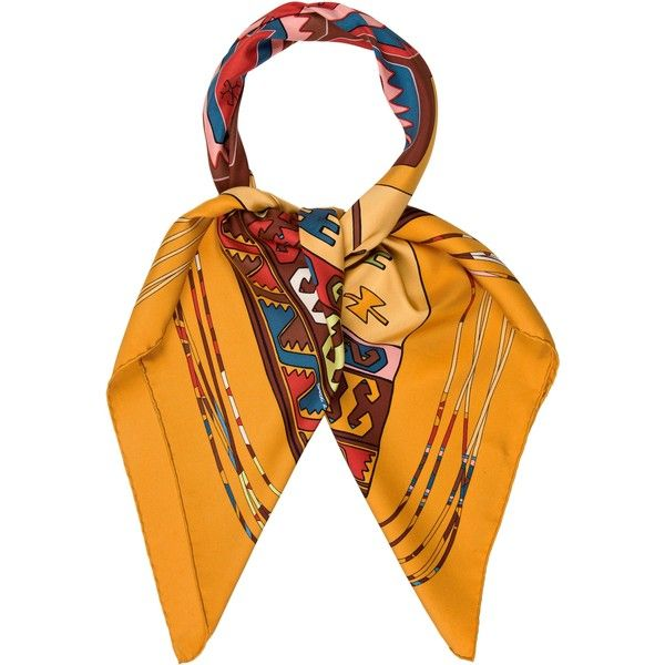 Pre-owned Herm?s Kilim Scarf (3.721.575 IDR) ❤ liked on Polyvore featuring accessories, scarves, orange, multi colored scarves, hermès, colorful shawls, hermes shawl and silk scarves