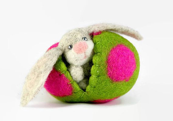 Needle Felted Easter Bunny in a Wool Easter Egg, Miniature Easter Decoration, Wool Toy