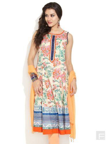 DIYA Daywear Anarkali Kurta | Buy Beige Regular Length | Shop Online India