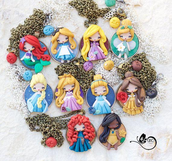 fimo collier princesse Disney                                                                                                                                                                                 Plus