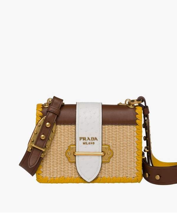 d441167f59c0 Prada Prada Prada Cahier Straw And Leather Bag
