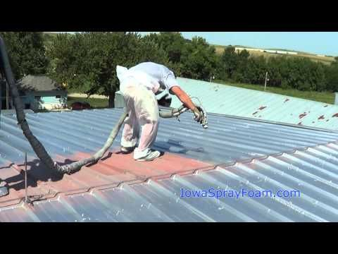 """Hurricane proof roof: spray applied polyurea roof coating & closed cell roofing spray foam 4 commercial roofs? polyurea 2-part mixture heated 2 140º sprayed in2 place - self-flashing & completely seals joints, seams & roof penetrations. 1700 lb/sq"""" tensile strength & 300% elongation rate & waterproof in < a min! Roofing foam is a 3lb/cu.' closed cell spray foam, i.e., Super Dome, N.O. System conforms 2 all shapes on roof & can B used 2 fill low spots 2 help roof drain. Iowa Spray Foam"""