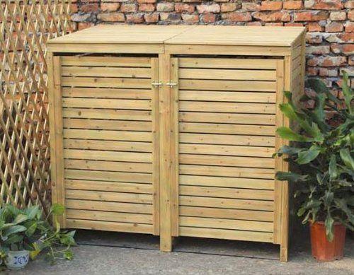 Cache-poubelle double sur roulettes - pour l'extérieur - bois: Amazon.fr: Jardin
