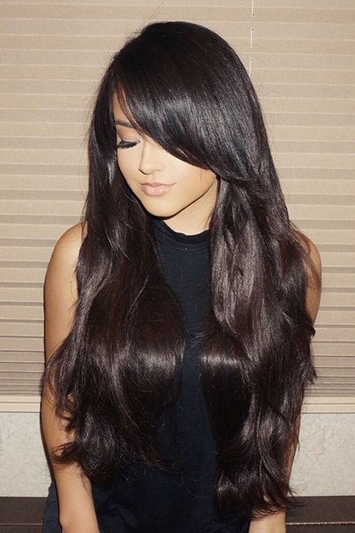 Becky G Straight Darkish Brown Lengthy Layers, Overgrown Bangs, Sideswept Bangs Hairst…