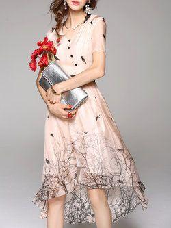 Apricot V Neck Short Sleeve Printed High Low Midi Dress