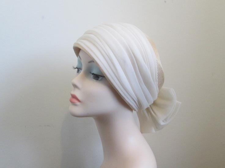 Vintage 60s Hat - Cream Nylon Bow  Light Straw