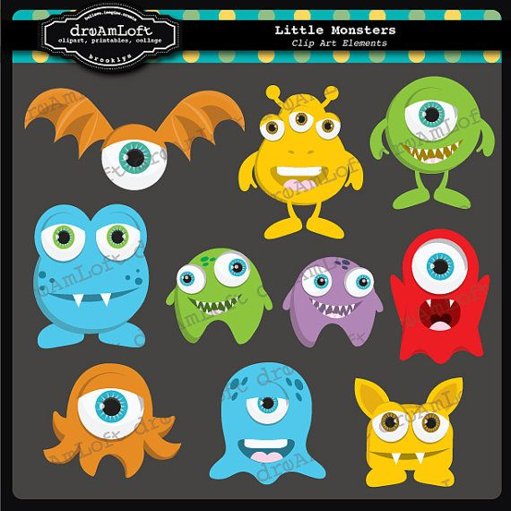Little Monsters Clipart elementos para uso Personal y por DreAmLoft