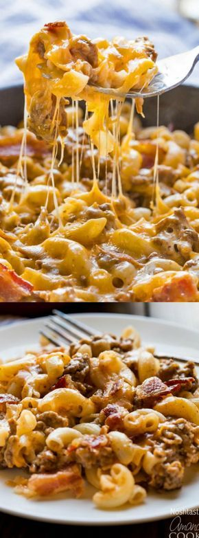 It doesn't get much tastier than this Skillet Bacon Cheeseburger Pasta recipe that we saw over at Amanda's Cookin'!