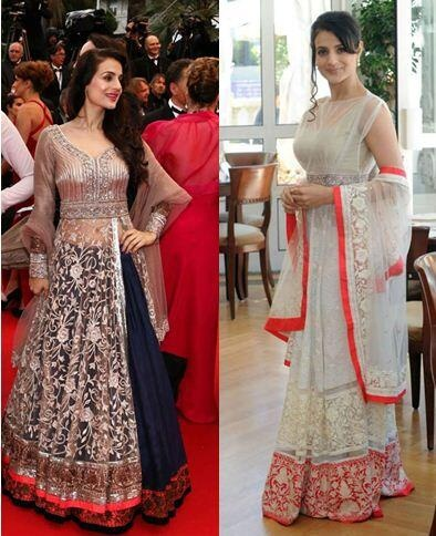 #amishapatel in #ManishMalhotra at the #Cannes2013 white and navy lengha