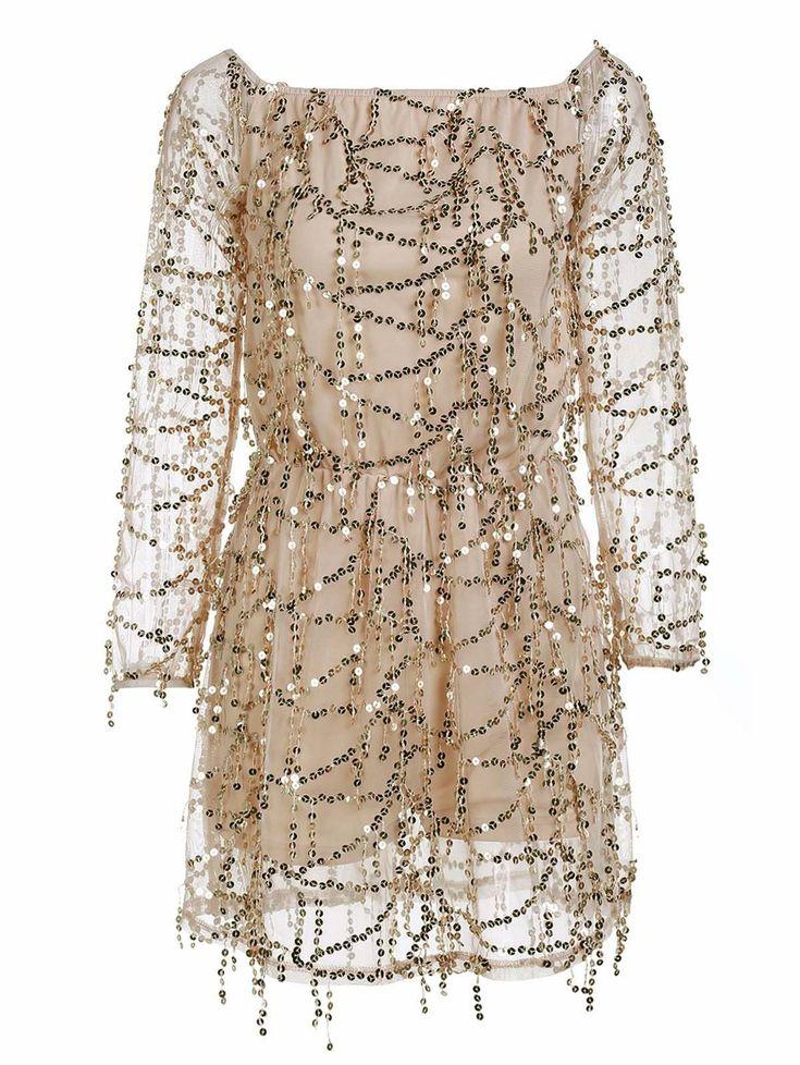 Stylish Sequined Off The Shoulder Long Sleeve Dress For Women in Golden | Sammydress.com
