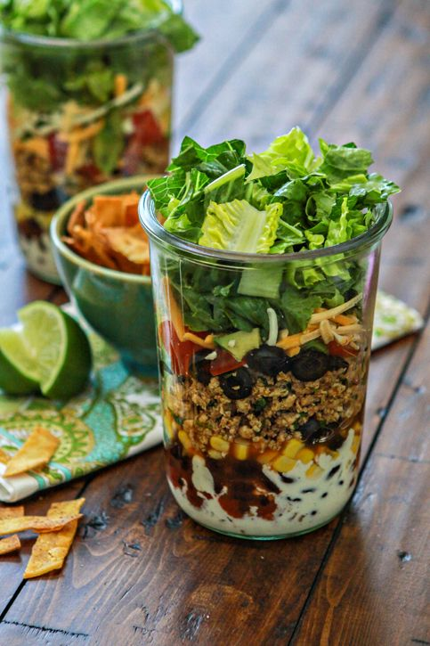 layered ground chicken taco salad in a jar recipe + tips for packing salads in a jar www.goodlifeeats.com @goodlifeeats