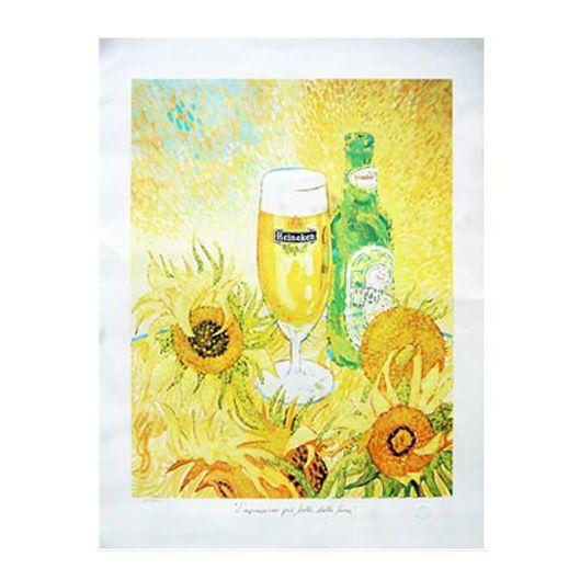 Stampa Girasoli Van Gogh tiratura limitata Birra Heineken arredo regalo bar pub