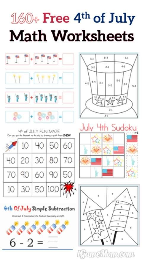 Calendar Practice Worksheets Kindergarten : Fourth of july printable math worksheets free