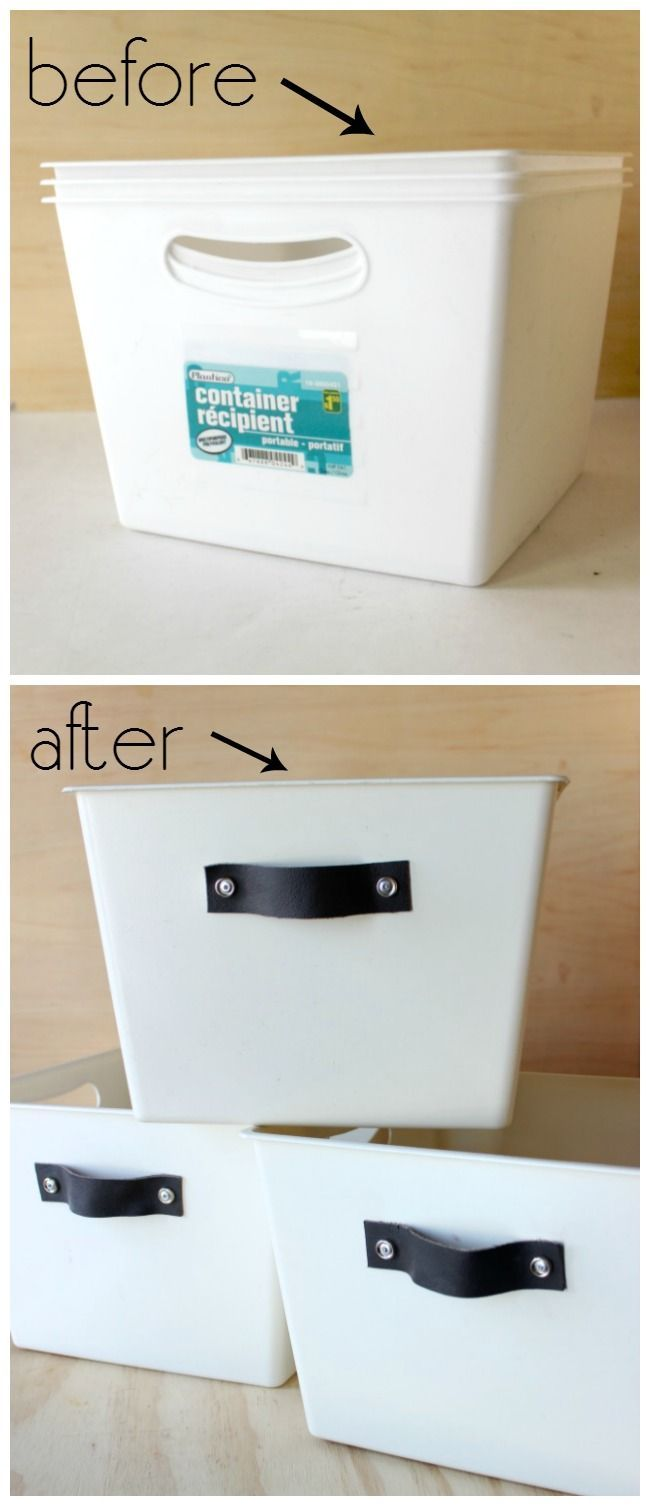 Amazing transformation! Can't believe those stylish storage totes were dollar store bins!