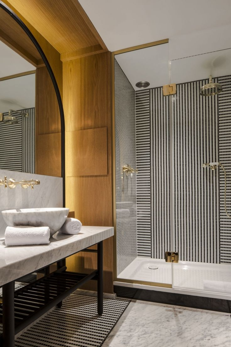 Bathroom - Luxurious bath space with fine detailing in design & materials.  (re-pinned photo - Hotel Vernet, Paris)